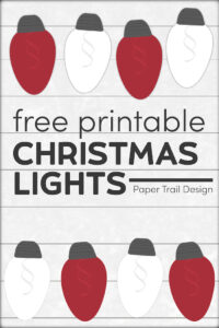 Red and white Christmas lights printable on shiplap background with text overlay- free printable Christmas lights