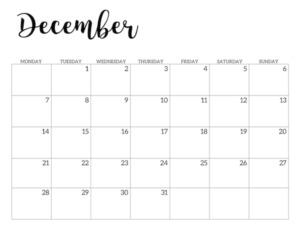 Free Printable 2020 December Calendar - Monday Start.