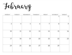 Free Printable 2020 February Calendar - Monday Start.