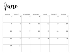 Free Printable 2020 June Calendar - Monday Start.