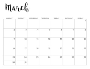 Free Printable 2020 March Calendar - Monday Start.
