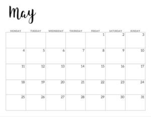 Free Printable 2020 May Calendar - Monday Start.