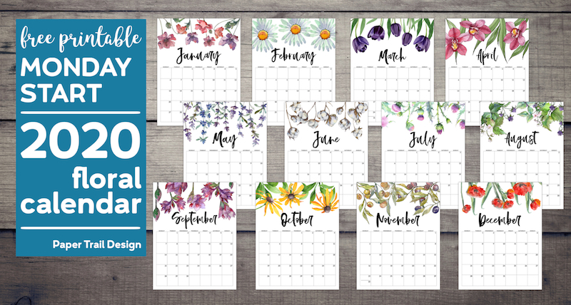 January through December calendar pages with floral design with text overlay- free printable Monday start 2020 floral calendar