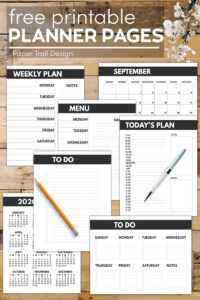 Set of planner pages including daily and weekly planner, to do lists, menu planner and calendars with text overlay- free printable planner pages