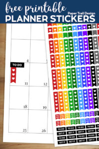 Rainbow colored planner flag stickers in solid, with a white heart, 3 item to do list, 5 item to do list, to do, and get it stickers with text overlay- free printable planner stickers