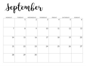 Free Printable 2020 September Calendar - Monday Start.
