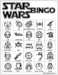 Star Wars bingo board game in black and white