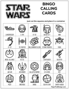Star Wars calling cards for a bingo board game in black and white