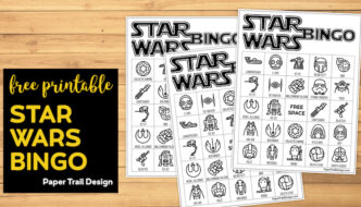 Star Wars Game Bingo Boards on wood background with text overlay- free printable Star Wars bingo
