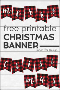 Merry Christmas rustic plaid banner letters on shiplap background with text overlay- free printable Christmas banner