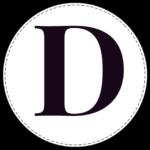 Circle banner letter D