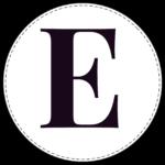 Circle banner letter E