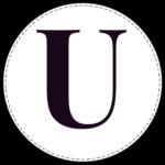 Circle banner letter U