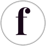 Lowercase circle banner letter f