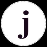 Lowercase circle banner letter j