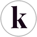 Lowercase circle banner letter k