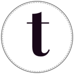 Lowercase circle banner letter t