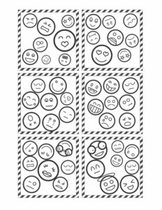 Six Spot the match cards with different emojis