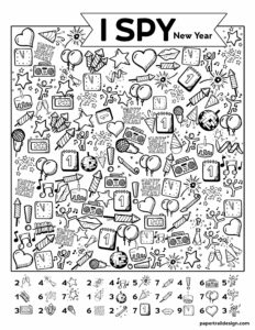 I Spy New Year activity free printable page