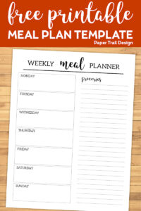 Meal plan template from Monday through Sunday and a grocery list with text overlay- free printable meal plan template