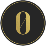 Black circle banner with gold number 0