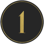 Black circle banner with gold number 1