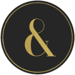 Black circle banner with gold symbol &