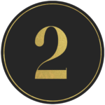 Black circle banner with gold number 2