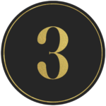 Black circle banner with gold number 3