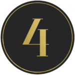 Black circle banner with gold number 4