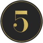 Black circle banner with gold number 5