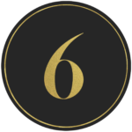 Black circle banner with gold number 6