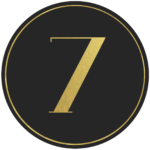 Black circle banner with gold number 7