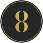 Black circle banner with gold number 8