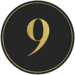 Black circle banner with gold number 9