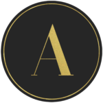Black circle banner with gold letter A