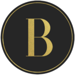 Black circle banner with gold letter B