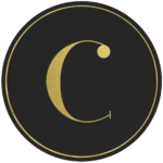 Black circle banner with gold letter C