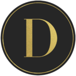 Black circle banner with gold letter D