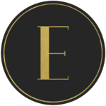 Black circle banner with gold letter E