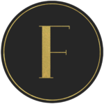Black circle banner with gold letter F