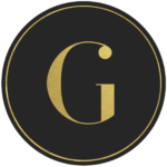 Black circle banner with gold letter G