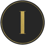 Black circle banner with gold letter I