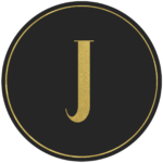 Black circle banner with gold letter J