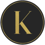 Black circle banner with gold letter K