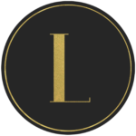 Black circle banner with gold letter L