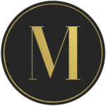 Black circle banner with gold letter M