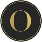 Black circle banner with gold letter O