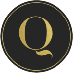 Black circle banner with gold letter Q