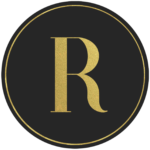 Black circle banner with gold letter R